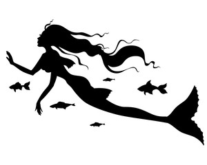 Silhouette of mermaid with fish