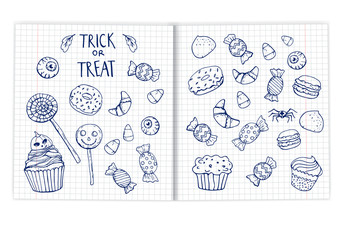 set Halloween doodle sweets drawn in a notebook