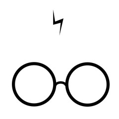 Flat vector of spectacles and characteristic ray of Harry Potter.