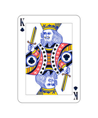 King of Clubs playing card with isolated on white