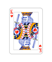 King of hearts playing card with isolated on white