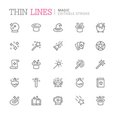 Collection of magic related line icons. Editable stroke