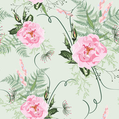 Blush pink bouquets on light green background. Seamless pattern with delicate wild roses flowers and herbs. Romantic garden illustration.