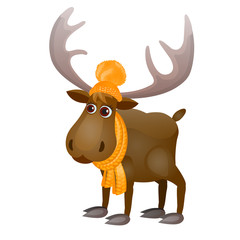 Cute Frozen Cartoon Moose In Knitted Scarf And Hat Isolated On A White Background. Vector Illustration.
