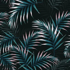 Seamless tropical pattern, vivid tropic foliage, with dark and pink palm leaves. Modern bright summer print design. Vintage black background.