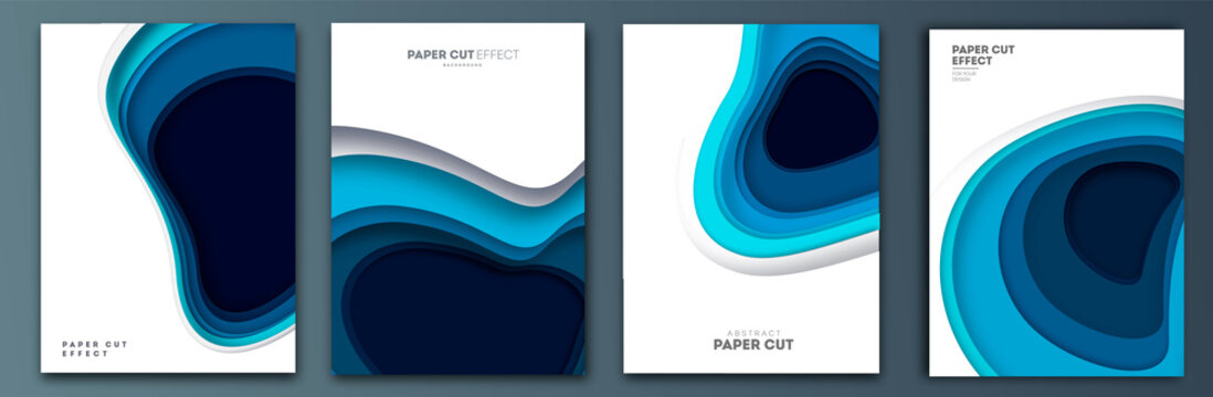Abstract colorful background with paper curved relief layers. Vector illustration. Material design. Paper cutting poster. Applicable for business banner, flyer, poster, brochure design