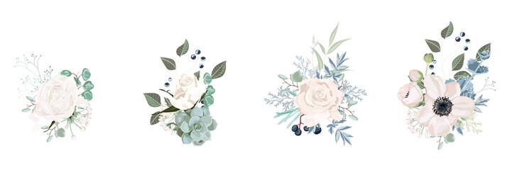 Floral bouquet design: garden pink creamy powder Rose flower, anemone Eucalyptus branch greenery leaves berry. Wedding vector invite card. Designer element set. White background.