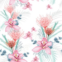 Pink orchid, protea, herbs, succulent, palm leaves and greenery seamless pattern. Wedding flowers for tropical invitation card design. Boho rustic style.