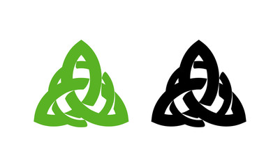 Triquetra wiccan pagan symbol from Charmed isolated on white background. Vector illustration of Celtic sign.