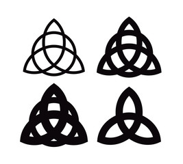 Triquetra - Wiccan symbol from Charmed. Celtic Pagan trinity knots different forms. Vector icons of ancient emblems.