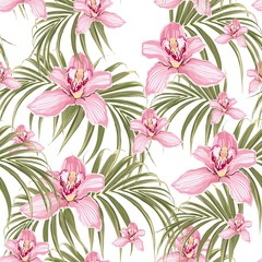 Seamless pattern of pink orchid flower and tropical palm leaves on white background. Set of exotic tropical garden for holiday invitations, greeting card and fashion design.