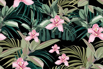 Seamless bright artistic tropical pattern with palm leaves, ficus, monstera, pink orchid flower. Modern colorful tropics background or print. Black background.
