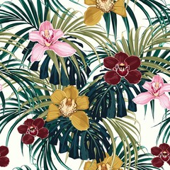 Seamless pattern, pink burgundy yellow orchid flower and green exotic palm monster leaves on light background.
