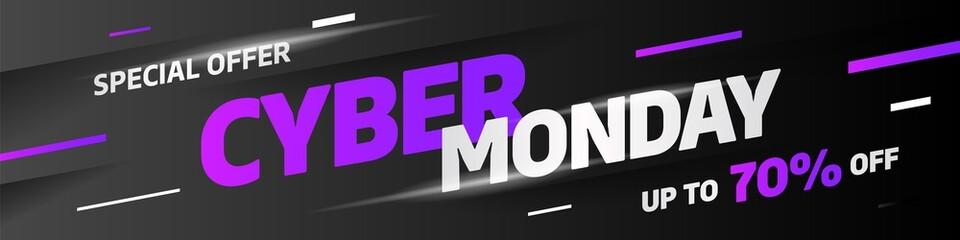 Cyber Monday discount sale concept. Inscription design template. Cyber Monday banner. Vector illustration eps 10.