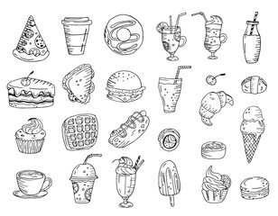 Black and white set of elements with hand drawn food