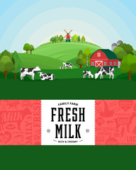 Milk farm illustration. Rural landscape. Cows and calves