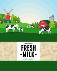 Milk farm illustration. Rural landscape. Cows and calves