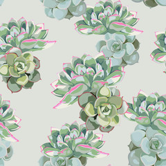 Floral pattern, delicate flower wallpaper, green pink succulent. Delicate feminine pattern on the vintage green background.