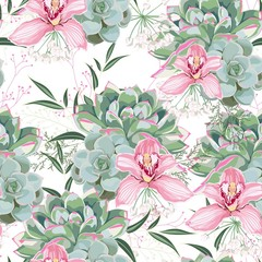 Floral pattern, delicate flower wallpaper, white herbs, pink orchid and green pink succulent. Delicate feminine pattern on the white background.