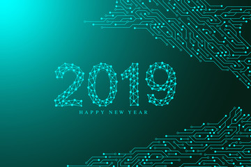 Computer motherboard vector background with circuit board electronic elements. Text design Christmas and Happy new year 2019. Electronic texture for computer technology, engineering concept