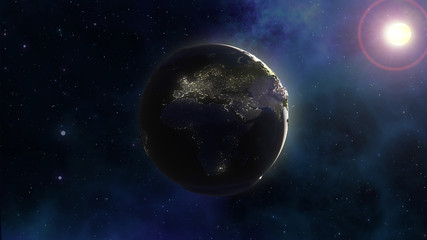 3D space background with Earth in nebula sky