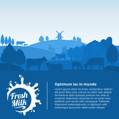 Vector milk illustration with cows, calves and farm