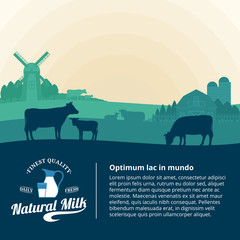 Vector milk illustration with cows, calves and farm