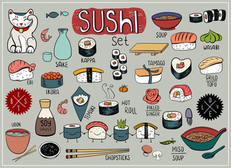 Sushi doodles collection