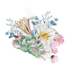 Floral spring card or poster graphic design with pink flowers, white lilies, eucalyptus and succulents. Romantic decorative bouquet.