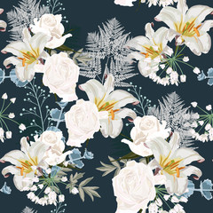 Seamless floral background with bouquets of roses and lilies. Wedding wallpaper with lily and herbs on the dark blue background
