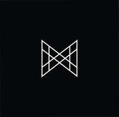Initial letter M MM N NN MN NM minimalist art logo, white color on black background.