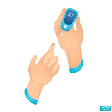 Hands Holding Glucometer Test Element.