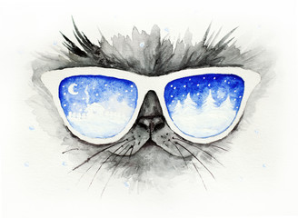 Cat in the glasses in which winter is reflected / Funny christmas watercolor illustration, card