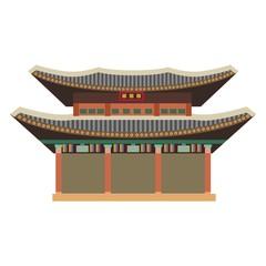the illustration with landmark of The Gyeongbokgung Palace