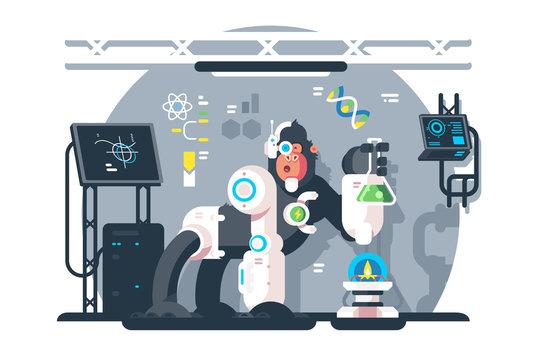 Robot monkey scientist make laboratory experiment.