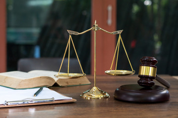 Legal office of lawyers and attorney. Judge Gavel, Scale of Justice