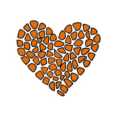 Giraffe print skin in the shape of a heart. Vector illustration. Valentines day. Greeting card.