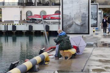 cat and fisherman