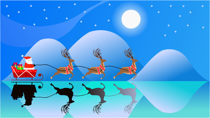 Vector Illustration image of silhouette Santa on Sleigh with  his flying reindeer on surface frozen ice lake isolated on Christmas night with full moon background.