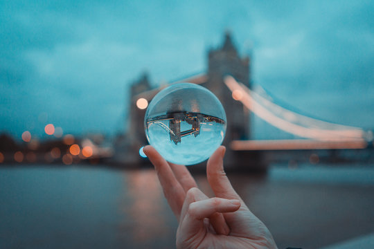 Tower Bridge Through A Lens Ball