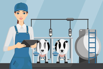 Woman farmer with tablet on a modern dairy farm. Smart farming, herd management and automatic milking. Vector illustration.