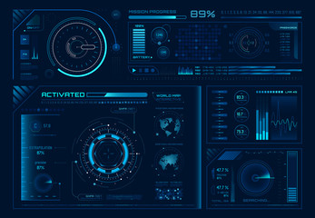 Wall Mural - Futuristic hologram ui. Science hud interfaces, graph interface frames and tech regulators or button design elements vector set