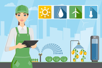 Woman farmer with tablet in a modern greenhouse. Internet of things in agriculture. Smart farm with wireless control. Vector illustration.