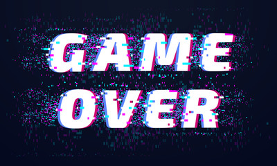 Game over. Games screen glitch, computer video gaming phrase and playing final level death screen with distorted text vector background
