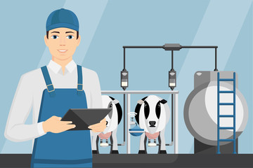 Farmer with tablet on a modern dairy farm. Smart farming, herd management and automatic milking. Vector illustration.