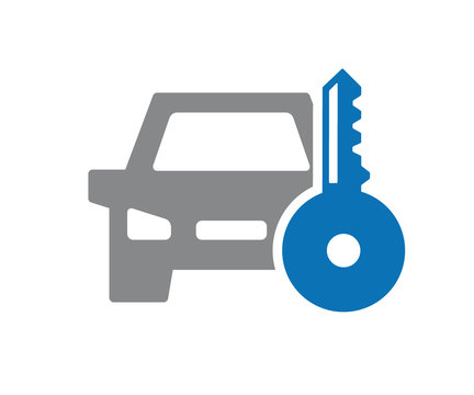 Vector key car icon. Automobile alarm system symbol and sign illustration on white background.