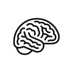 Brain side view icon, intellect symbol, simple line style