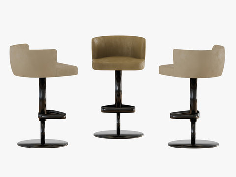Three bar stools on a white background 3d rendering