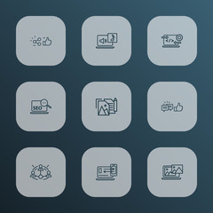 SEO icons line style set with likes with comment, photo content, affiliate marketing and other processing  elements. Isolated vector illustration SEO icons.