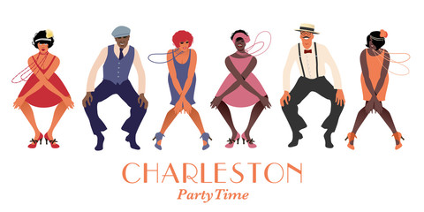 Four flapper girls and two man wearing retro clothes dancing Charleston. Vector Illustration Wall mural